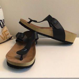 Shoes - Black Wedge Sandals